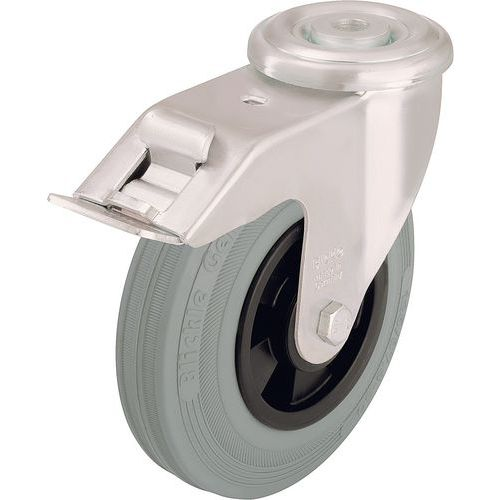 Zwenkwiel met boutgat en rem - Draagvermogen 50 tot 205 kg - Grijs