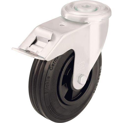 Zwenkwiel met boutgat en rem - Draagvermogen 50 tot 205 kg - Zwart