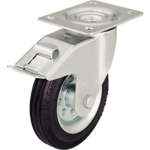 Zwenkwiel met grondplaat geremd - Draagvermogen 50 tot 205 kg