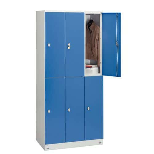 Garderobekast met 6 vakken en kledingstang Collectivite - 3 kolommen breedte 400 mm - Op sokkel