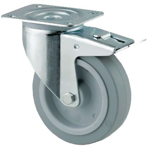 Zwenkwiel met grondplaat geremd - Draagvermogen 150 tot 400 kg