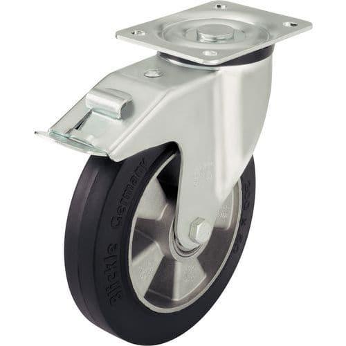 Zwenkwiel met plaat en rem - draagvermogen 180 tot 550 kg