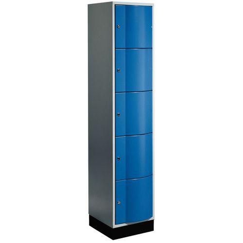 Garderobekast met 5 vakken vandalismebestendige deur - 1 kolom breedte 400 mm - Op voet