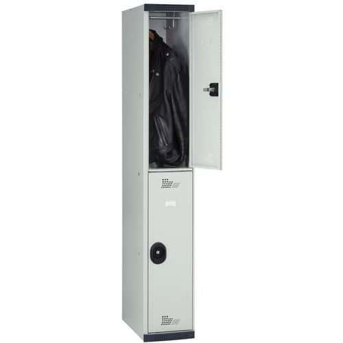 Garderobekast 2 hangvakken Seamline Optimum® - 1 kolom breedte 300 mm - op sokkel - Acial