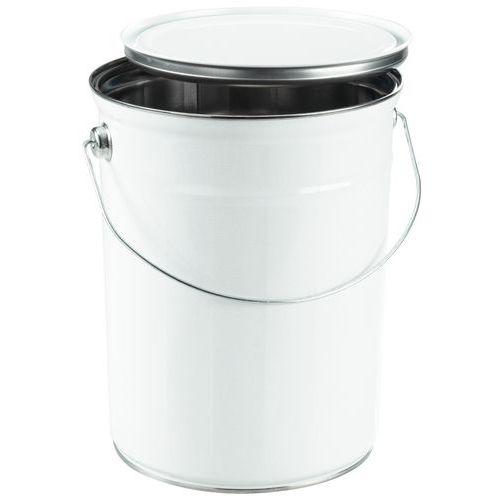 Metalen emmer wit met plat deksel - 2,5 tot 5 l