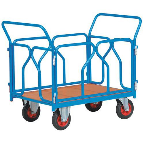 Modulaire wagen met buiswanden en wielen, rechthoekig - 1200mm x 800mm - Draagvermogen 500kg - FIMM
