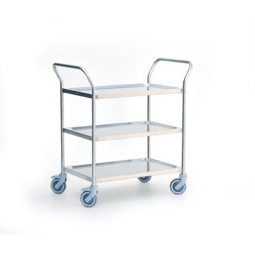 Rvs serveerwagen - 3 legborden - Draagvermogen 120 kg