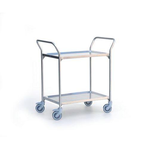 Rvs serveerwagen - 2 legborden - Draagvermogen 120 kg