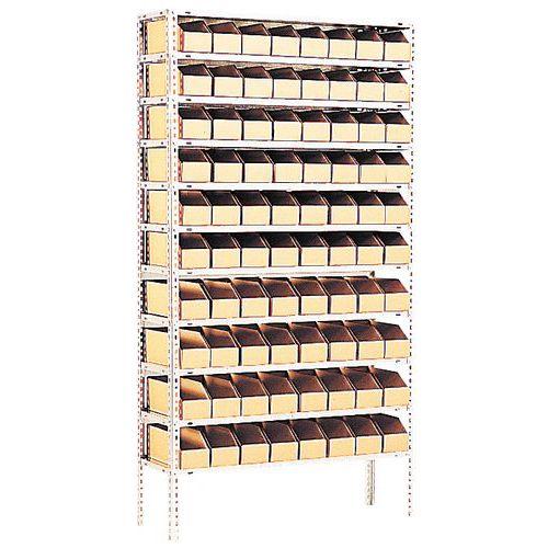 Stelling met kartonnen stapelbakken