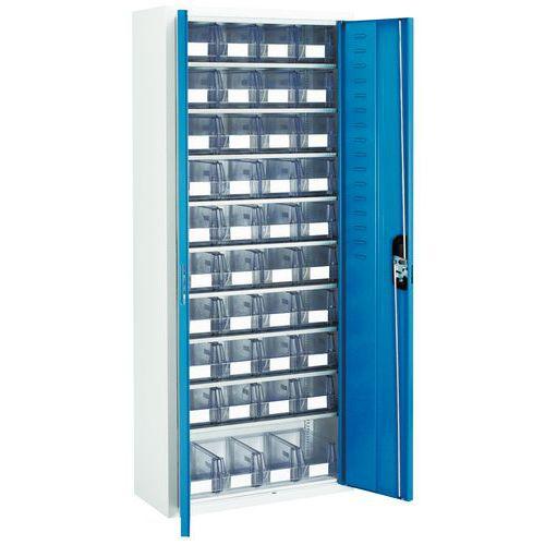 Kast met transparante magazijnbakken - Middelmaat - Met deuren