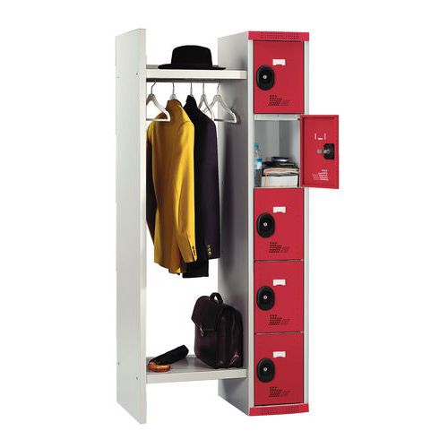 Garderobekast 5 vakken en kledingstang Seamline® - Lengte kledingstang 520 mm - Acial