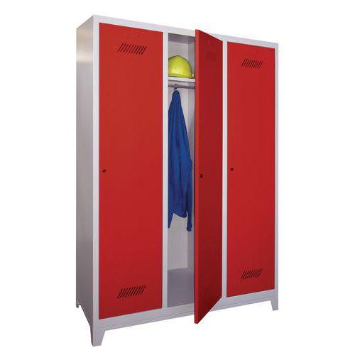 Garderobekast Medium 400 - Op poten - Schone industrie - Cilinderslot - 3 kolommen