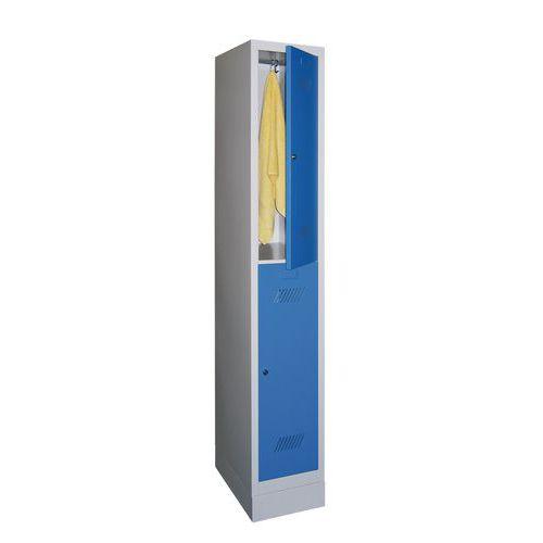 Garderobekast met 2 vakken en kledingstang Medium - 1 kolom breedte 300 mm - Op sokkel