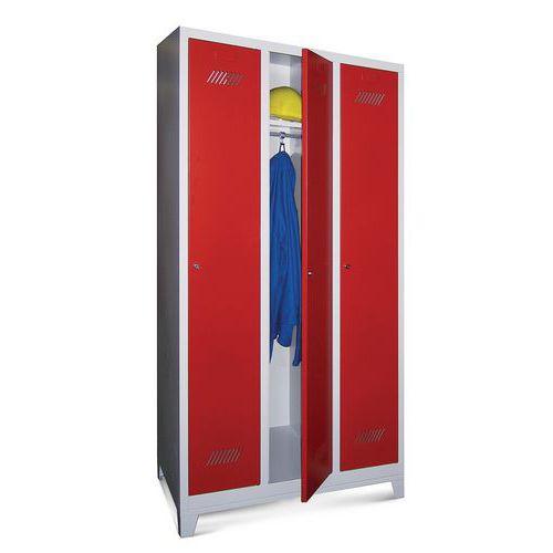 Garderobekast Medium 300 - Op poten - Schone industrie - Cilinderslot - 3 kolommen