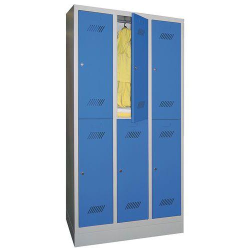 Garderobekast met 6 vakken en kledingstang Medium - 3 kolommen breedte 300 mm - Op sokkel