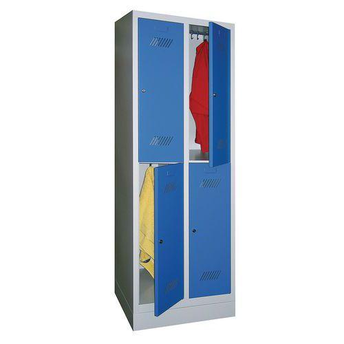 Garderobekast met 4 vakken en kledingstang Medium - 2 kolommen breedte 300 mm - Op sokkel