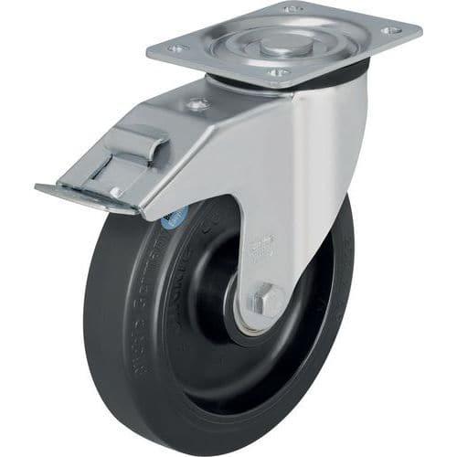 Zwenkwiel met grondplaat geremd - Draagvermogen 200 tot 400 kg