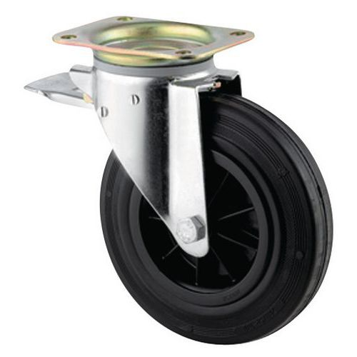 Zwenkwiel met grondplaat geremd - Draagvermogen 135 en 205 kg