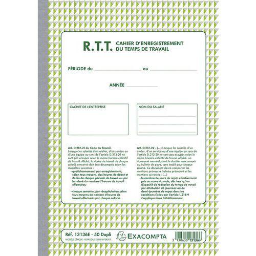Doorschrijfpapier RTT arbeidstijdregistratie zelfkopierend papier FR