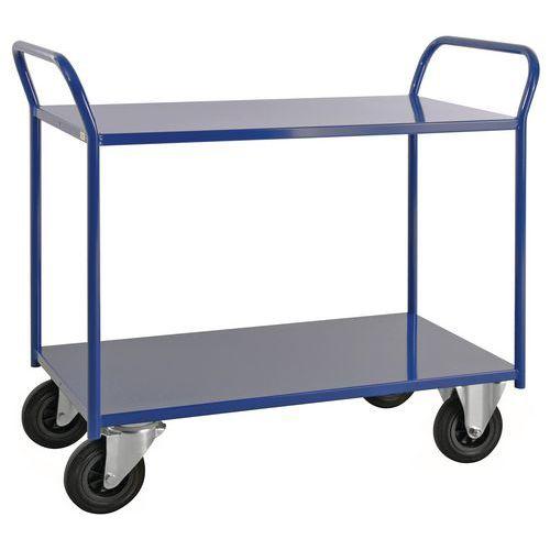 Tafelwagen 2 niveaus volledig gelast - 2 zwenk- en 2 vaste wielen