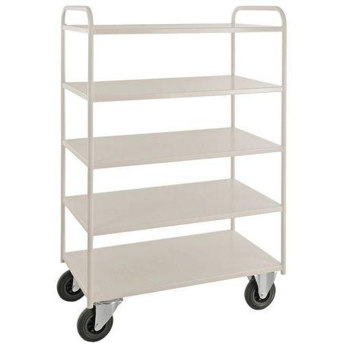 Tafelwagen 5 niveaus volledig gelast - 2 vaste - en 2 zwenkwielen