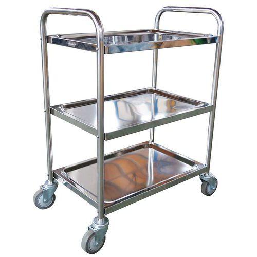 Rvs wagen - 3 legborden - Draagvermogen 100 kg - Manutan