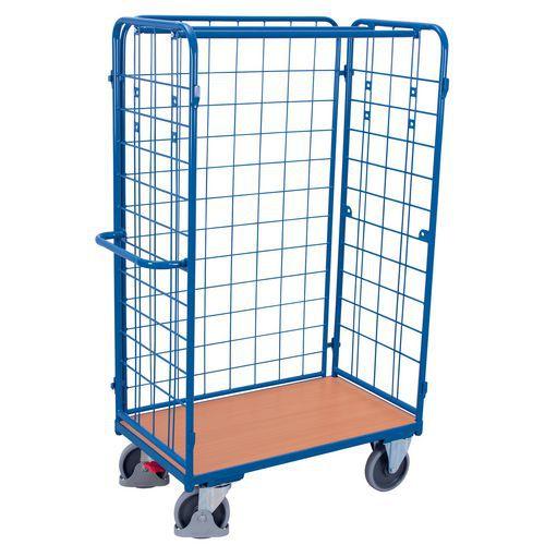 Rolcontainer met houten basis - 3 zijden - Draagvermogen 400 kg tot 500 kg