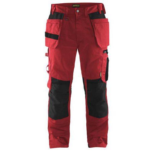 Werkbroek met spijkerzakken 1555 - rood/zwart