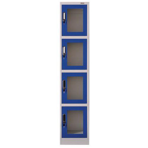 Garderobekast met doorzichtige deur 4 vakken - Manutan
