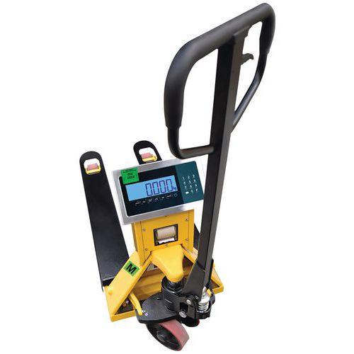 Palletwagen met weegsysteem en printer, met certificaat van wettelijke ijking - draagvermogen 2000 kg - B3C