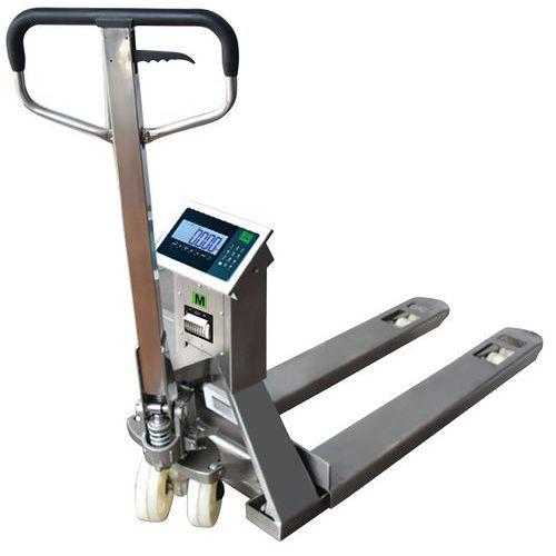 Palletwagen met weegsysteem van rvs met printer - hefvermogen 2000 kg - B3C