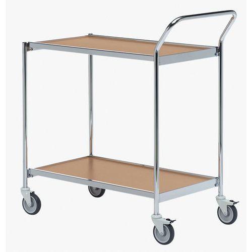 Verrijdbare tafel chroom - 2 plateaus - draagvermogen 150 kg