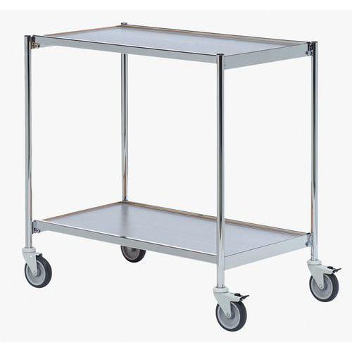 Verrijdbare tafelwagen chroom - 2 plateaus - Draagvermogen 150 kg