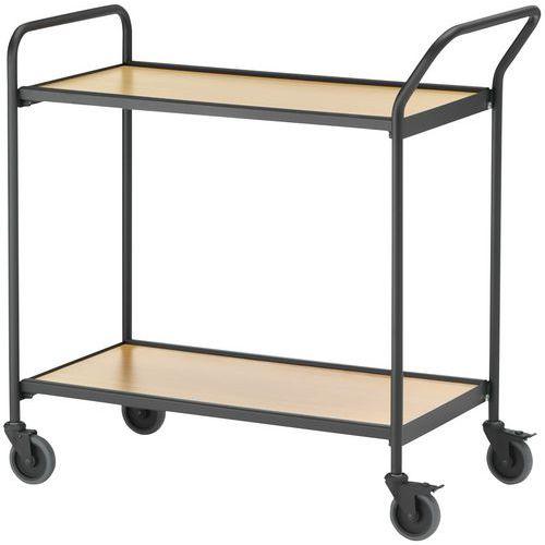 Verrijdbare tafel zwart - 2 plateaus - draagvermogen 150 kg