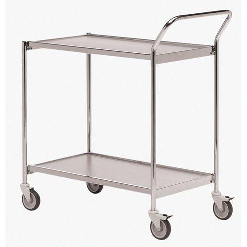 Verrijdbare tafel chroom - 1 handgreep en 2 plateaus - draagvermogen 150 kg