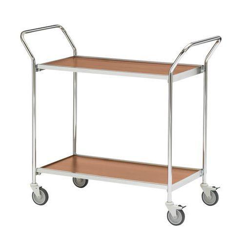 Verrijdbare tafel met grijze afwerking en twee handgrepen - 2 plateaus - draagvermogen 150 kg