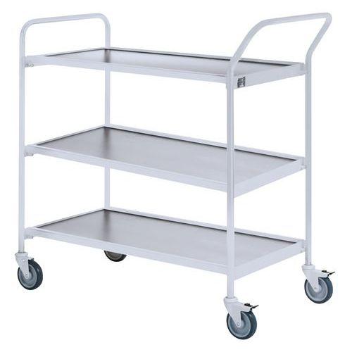 Verrijdbare tafel grijs - 3 plateaus - draagvermogen 150 kg