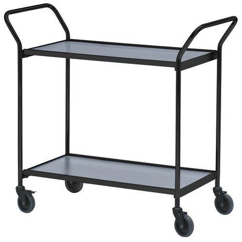 Verrijdbare tafel met zwarte afwerking en twee handgrepen - 2 plateaus - draagvermogen 150 kg