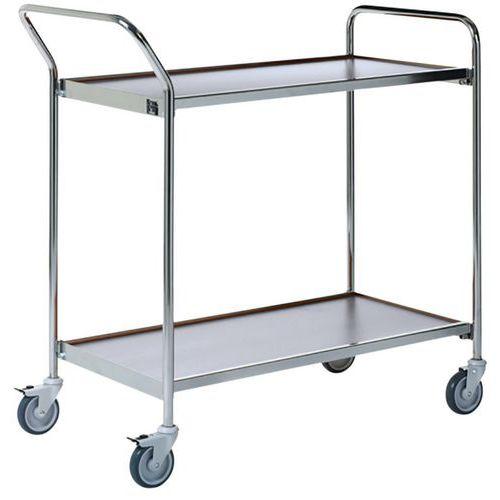 Verrijdbare tafel grijs - 2 plateaus - draagvermogen 150 kg