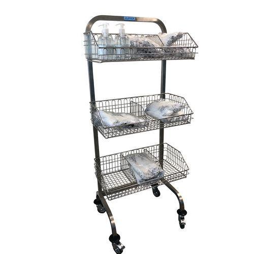 Transportwagen voor hygiëne van rvs met mand - Zonder tussenschot