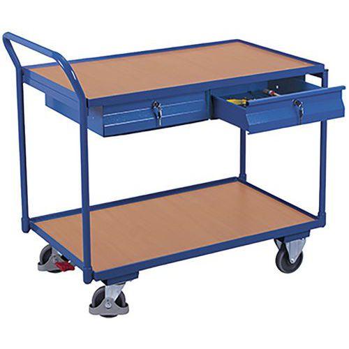 Tafelwagen met 2 laadvlakken en 2 laden