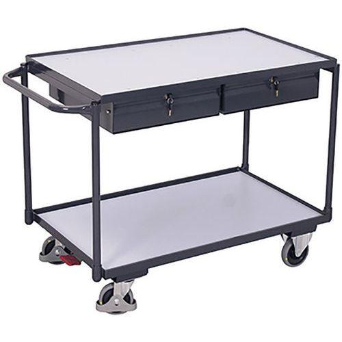 Tafelwagen ESD elektrisch geleidend met 2 laadvlakken en 2 laden