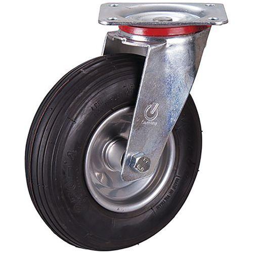 Zwenkwiel met luchtband, 230 x 65 mm, zwart