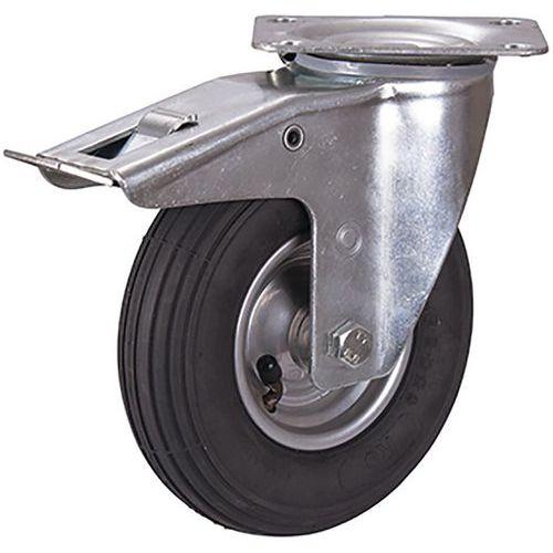 Zwenkwiel met luchtbandrem 200 x 50 mm zwart