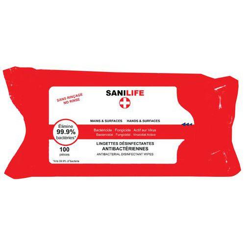 Speciaal voor Covid - reinigingsdoekjes voor de handen / oppervlakken SANILIFE