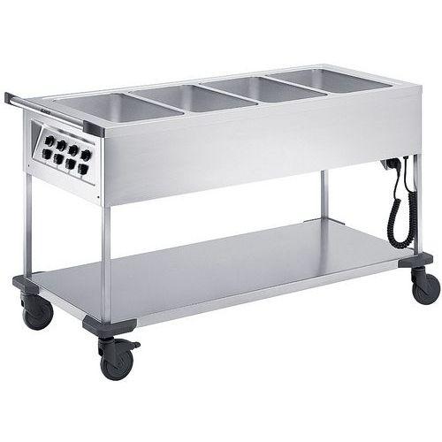 Voedselverdeelwagens verwarmd open 4 individuele bak met thermostaat