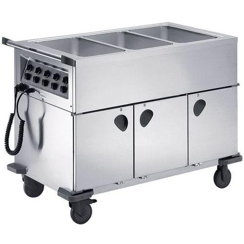 Voedselverdeelwagens verwarmd gesloten 3 individuele bakken
